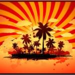 熱帯の島の背景 — ストックベクタ