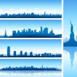 New york city silhouettes - Stock Vector