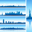 Stock Vector: New york city silhouettes