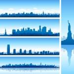 silhuetas de Nova York — Vetorial Stock