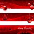 Red Christmas banners — Stock Vector