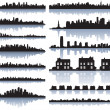 Set of vector detailed cities silhouette - Stok Vektör