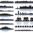 Set of vector detailed cities silhouette - Stok Vektr