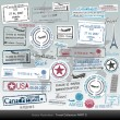 Passport stamps collection - Grafika wektorowa