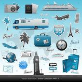 Viaggio icone ed elementi — Vettoriale Stock