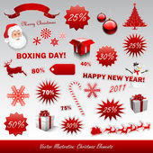Boxing day Christmas items — Stock Vector