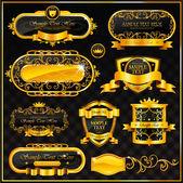 Vintage altın çerçeve siyah — Stok Vektör
