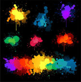Paint splat on black background — Stock Vector