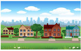 Suburban background — Stock Vector