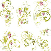 Wine grape scroll ornament — Stock Vector