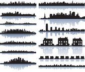Ensemble de la silhouette de villes détaillés de vecteur — Vecteur