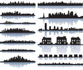 Set of vector detailed cities silhouette — Vector de stock