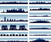 Vector city skylines — Stock Vector
