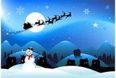 Fondo de navidad muñeco de nieve — Vector de stock