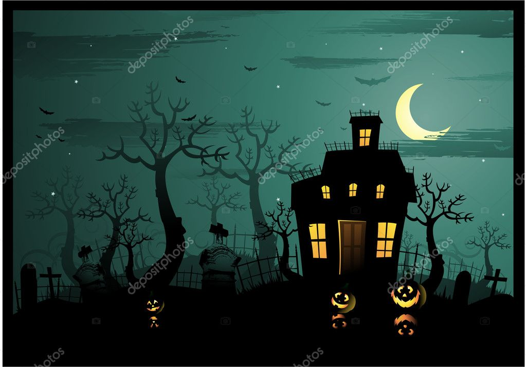 Creepy halloween background with haunted house  Stock Vector #6057632