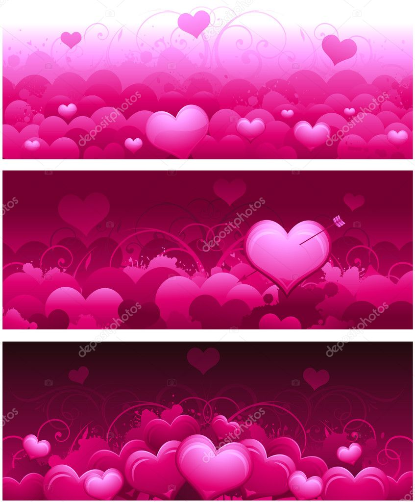 Pink horizontal valentines day banners for wedding or greeting card — Stock Vector #6059013