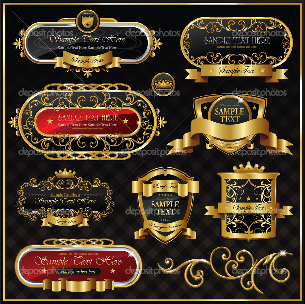 Vintage golden frame on black — Stock Vector #6059108