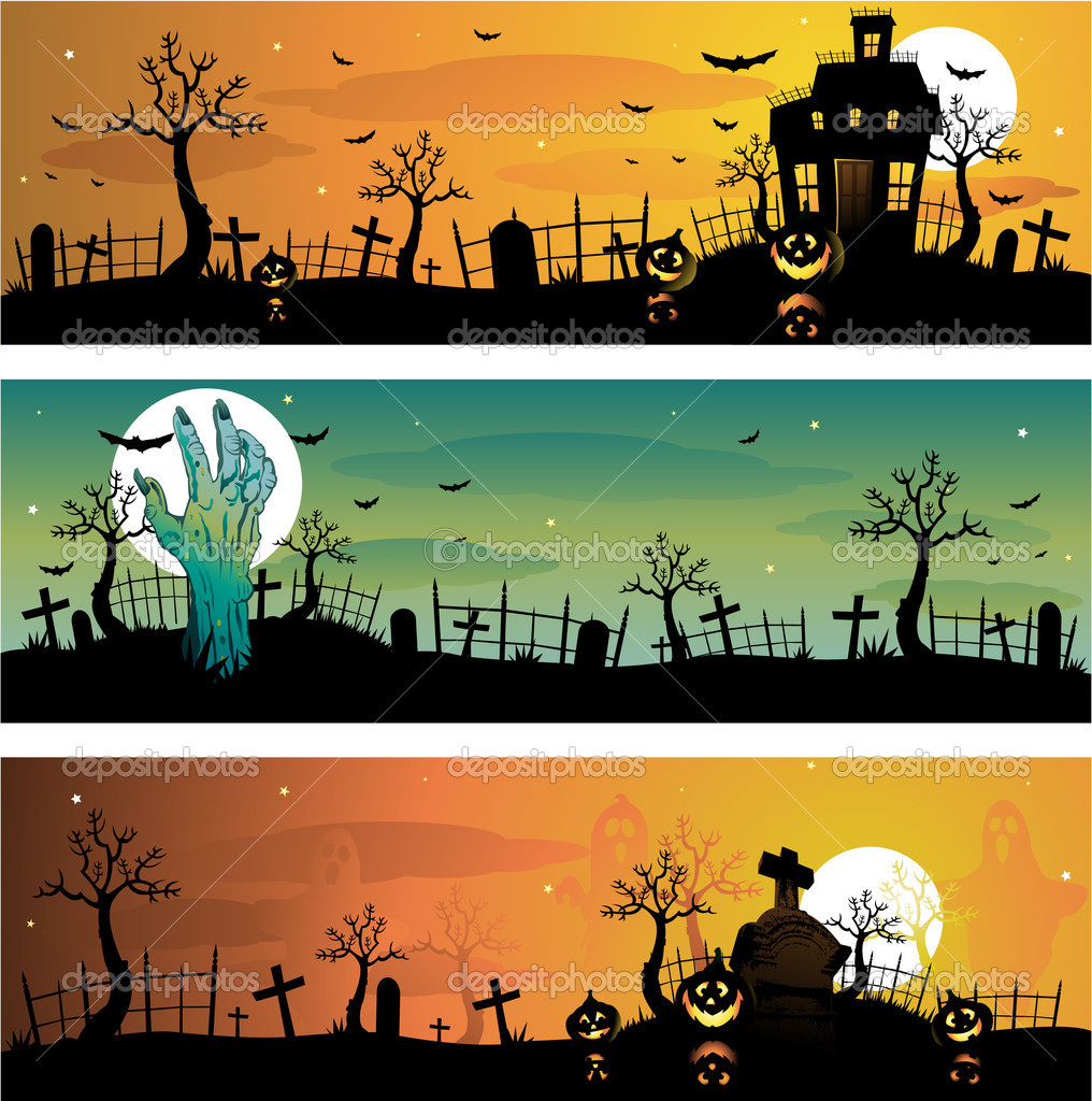 Creepy Halloween background illustration  Vettoriali Stock  #6059231