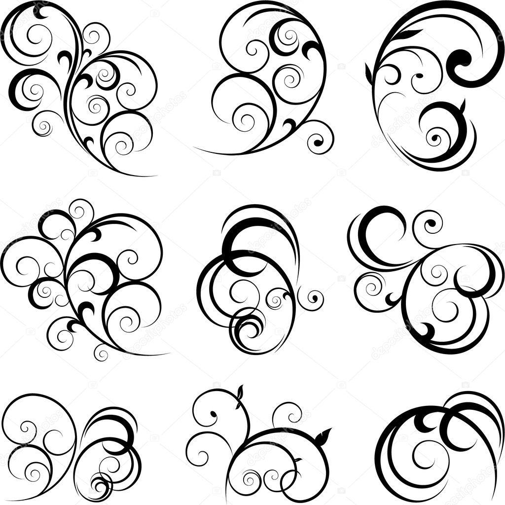 Vector Scroll Shapes Clip Art