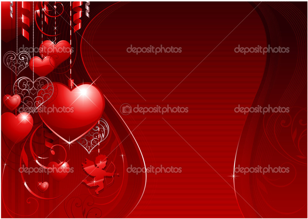 Horizontal valentines day background for wedding or greeting card — Stock vektor #6059502