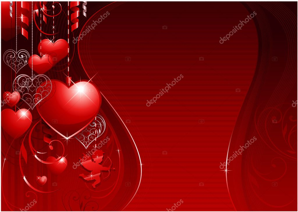 Horizontal valentines day background for wedding or greeting card — Векторная иллюстрация #6059502