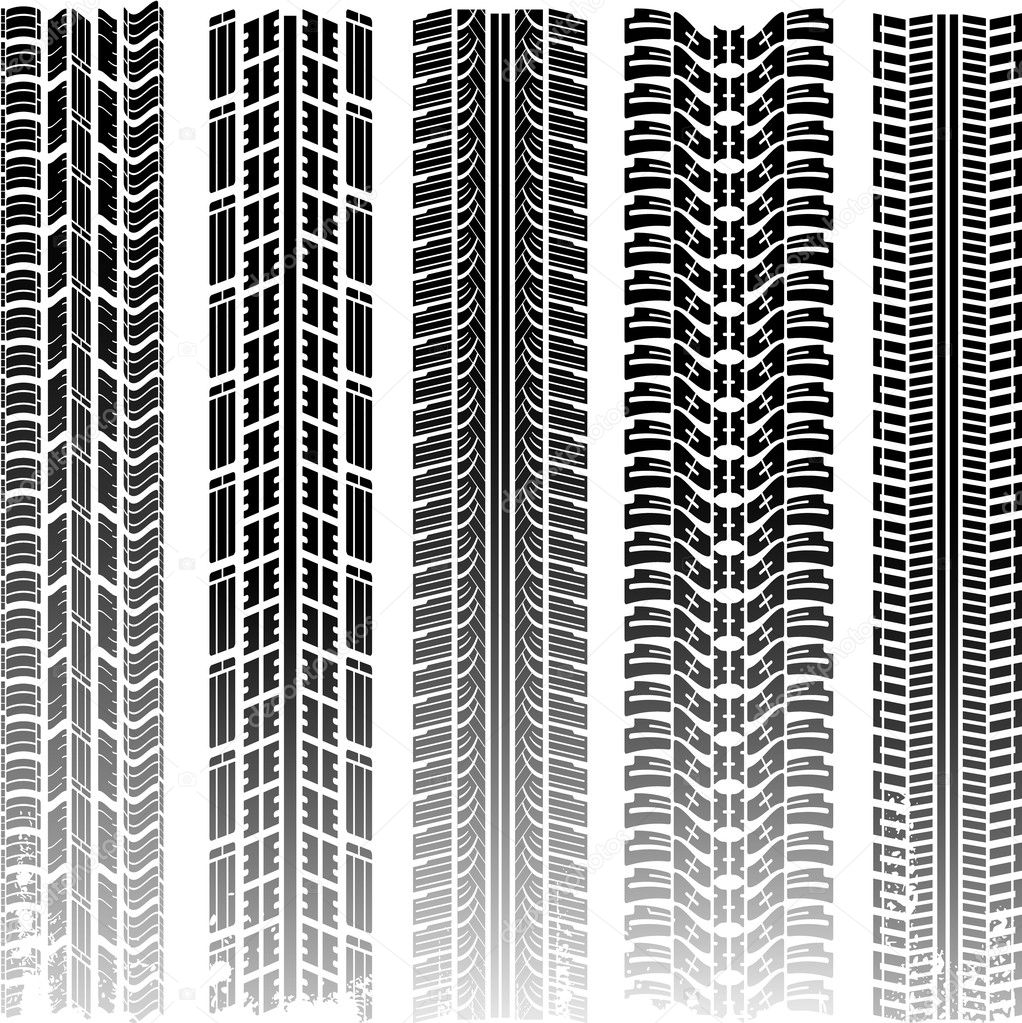 Dirty tire tracks texture set  Stock Vector #6059555
