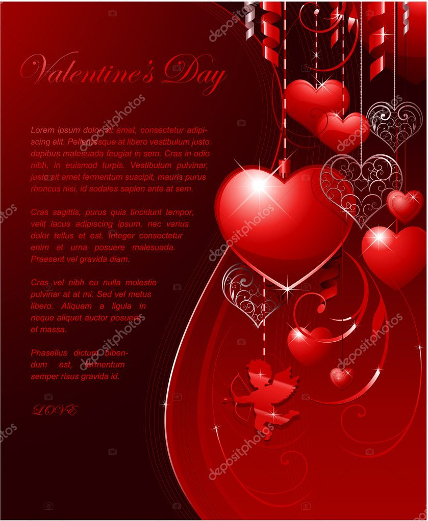 Valentines day background for wedding or greeting card  Stock Vector #6059599