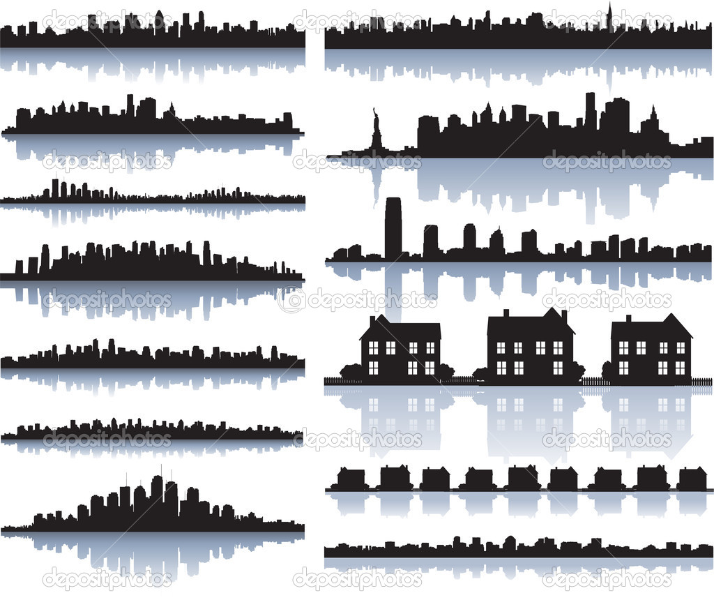 Set of vector detailed cities silhouette — ベクター素材ストック #6059620
