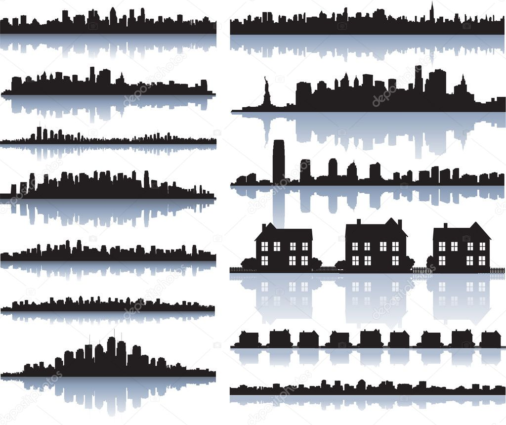 Set of vector detailed cities silhouette — 图库矢量图片 #6059620