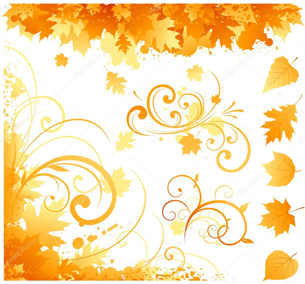 Autumn leaf and abstract element collection   Stock Vector #6059654
