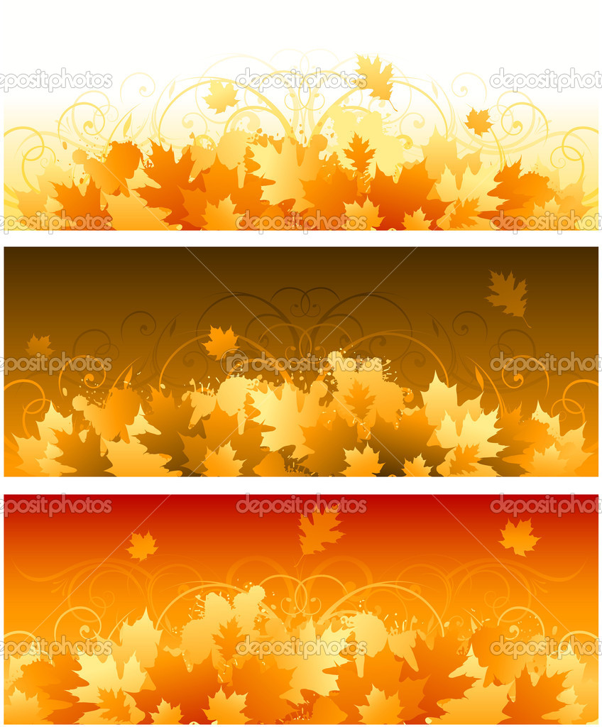 Autumn leaves banners background — Stock Vector #6059683