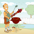 Bbq cook cartoon - Stock Vector