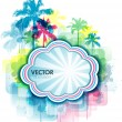 Colorful summer background with palm tree and paint splats — Stock Vector