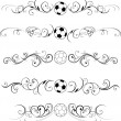 Swirling soccer flourishes decorative — Imagen vectorial