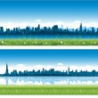 City skylines background - Vettoriali Stock