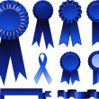 First place blue ribbons — Stock Vector #6435365