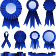 First place blue ribbons - Stock Vector