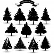 Stock Vector: Christmas tree silhouette collection