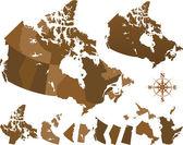 Mapa del mundo de canadá — Vector de stock