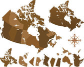 Mapa do mundo de canadá — Vetorial Stock