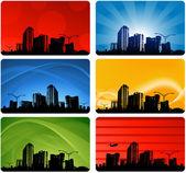 城市天际线背景 — 图库矢量图片