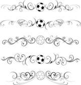закрученного футбол процветает декоративные — Cтоковый вектор