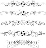 Swirling soccer flourishes decorative — Vector de stock