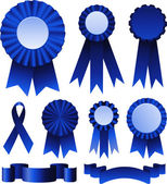 First place blue ribbons — Stock Vector