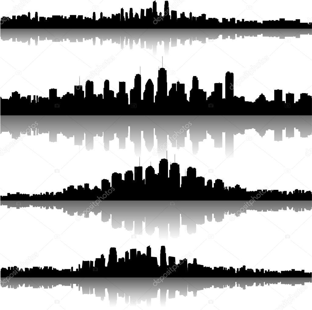 Şehir silueti arka plan — Stok Vektör © hugolacasse #6434095