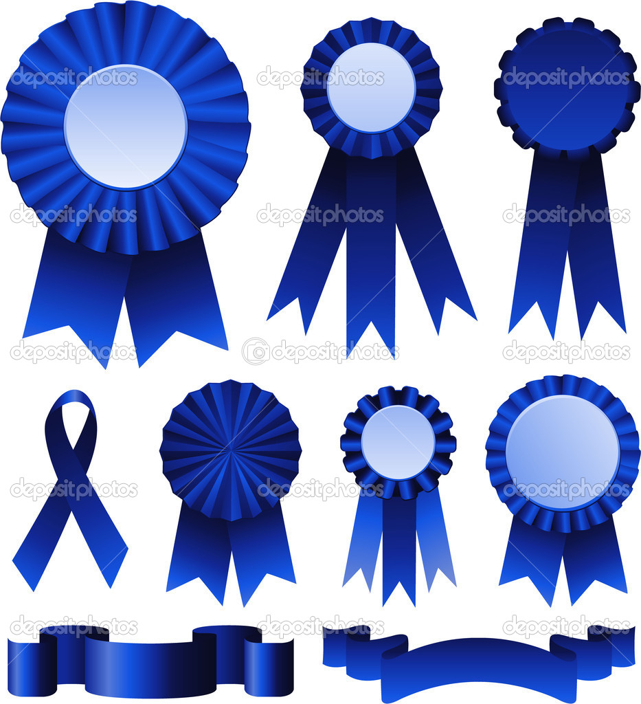 First place blue ribbons  Stock Vector #6435372