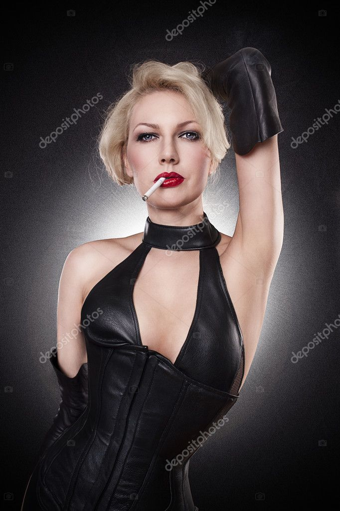 Ladies leather gloves xl - Leather Corset And Gloves On The Black Background Photo By