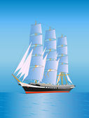 The ship with sails — Stock Photo