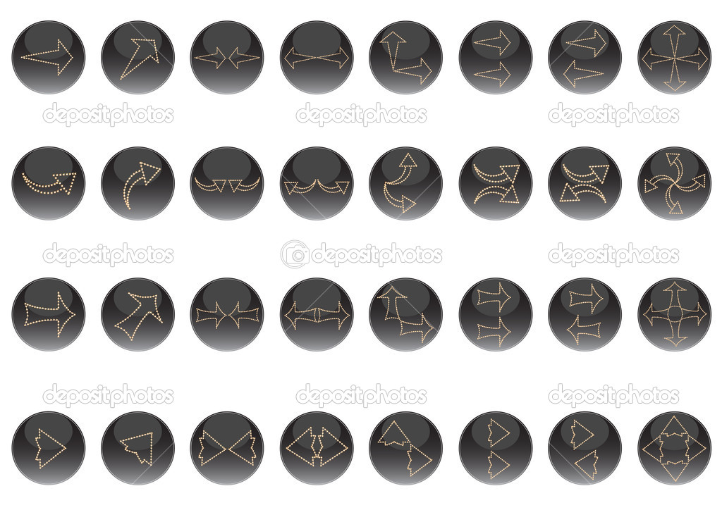 Arrows - buttons, on a black background in circles  — Stock Vector #6095583