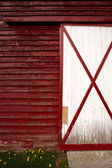 Wall and the door on the old red barn in the countryside. — Stock Photo